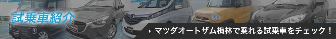 試乗車紹介 マツダオートザム梅林で乗れる試乗車をチェック!